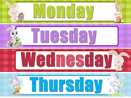Days of the Week Display Signs