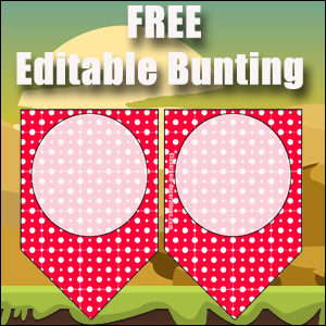 Bunting Template 1 Point - Red
