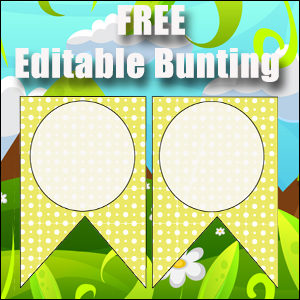 Bunting Template 2 Point - Yellow