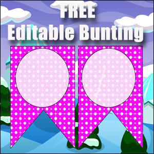 Bunting Template 2 Point - Purple