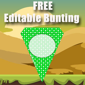 Bunting Template Large 1 Point - Green