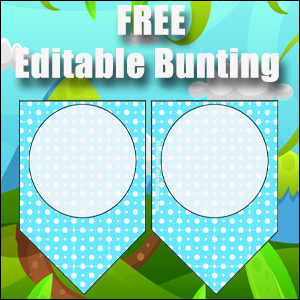 Bunting Template 1 Point - Blue