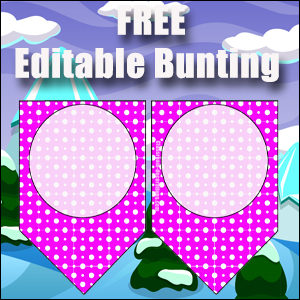 Bunting Template 1 Point - Purple
