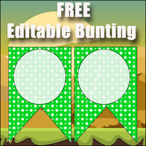 Bunting Template 2 Point - Green