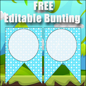 Bunting Template 2 Point - Blue