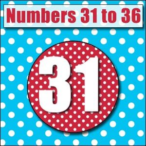 Printable Numbers - 31 to 36