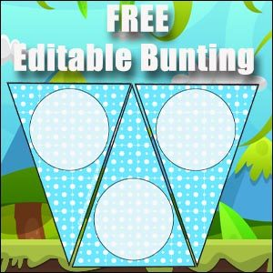 Bunting Template - Blue