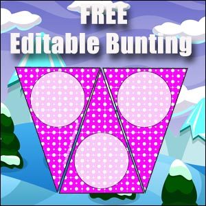 Bunting Template - Pink