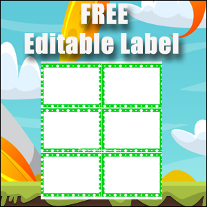 Editable Labels - Printable Free - Great for Flash Cards - Green