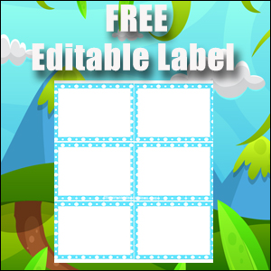 Editable Labels - Printable Free - Great for Flash Cards - Light Blue