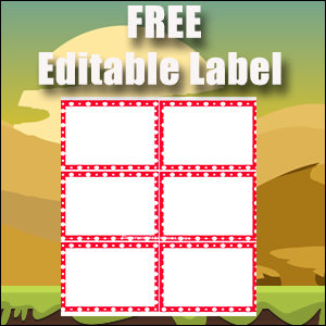 Editable Labels - Printable Free - Great for Flash Cards - Red